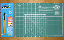 """OLFA Rotary Cutter RTY-4 & Cutting Mat CM-A4 12"""" X 8"""" Fabric Leather Paper"""