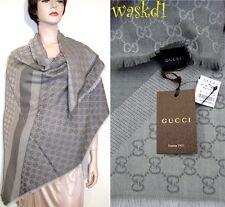 "GUCCI wool/silk Dove Gray Monogram Giant 55""-sq scarf PASHMINA shawl NWT Authent"