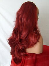 Half Wig Fall Clip In Hairpiece flick layered Long 3/4 wig fall Red burg Mix Z14