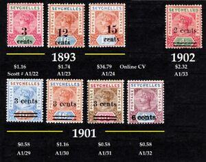 SEYCHELLES QV VALUES=OVERPRINRED STAMPS1893 3MNT,1901 4MNT,1902 1MNT [CV $43]