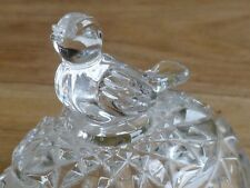 Beautiful Crystal Egg Trinket Box with Songbird on top of Lid. In Excellent Cond