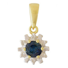 NATURAL BLUE SAPPHIRE PENDANT. 6 GENUINE DIAMONDS. REAL SOLID 9K 9CT 375 GOLD.