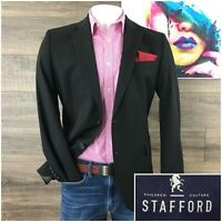 Stafford Mens Size 42R Wool Blazer Sport Coat Jacket Dark Gray Travel Suit