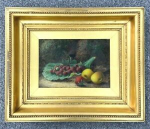 Oliver Clare Oil On Canvas Still Life Study Of Fruit Set On A Cabbage Leaf