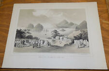 1856 Print COMMODORE PERRY in Asia/VIEW OF SIMODA, JAPAN FROM AMERICA GRAVE YARD