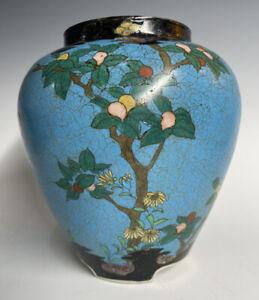 Antique Japanese Meiji Era Totai Shippo Cloisonne on PORCELAIN Vase 19th C.