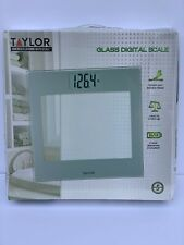 New!  Taylor 7624T Glass Top Silver Bathroom Scale. 400lb maximum weight