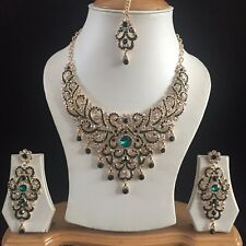 GREEN GOLD INDIAN COSTUME JEWELLERY NECKLACE EARRING CRYSTAL DIAMOND SET NEW 232