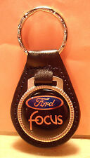 FORD  FOCUS KEY CHAIN ~  BLACK LEATHER  FOB~ SILVER TONE Hardware