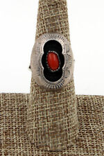 Navajo Sterling Silver Hand Stamped Coral Shadow Box Ring Size 8.5