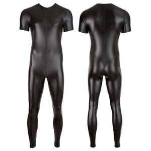 Men Faux Leather Zentai Catsuit Zipper Bodysuit Jumpsuit Costume Black XL
