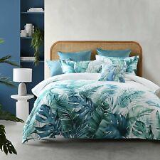 Bianca Daintree White Quilt Cover Set. Tropical Palms, Lush Cotton Sateen