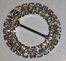 5 Silver Grade A Rhinestone Round Wedding Ribbon Slider Buckles 15mm Bar MO173