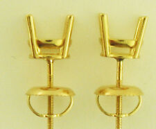 1.5 TW 4 Prong Stud Earrings Mount 18K Yellow Gold 6MM Round Each