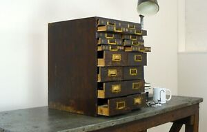 Vintage Industrial 1940s 18 Drawer Watchmakers Cabinet