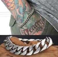 Men's Stainless Steel Chain Link Bracelet Wristband Bangle Jewelry Punk Silver