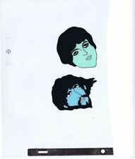 Beatles Original Production Cel Hand Painted Yellow Submarine 2 Faces 1/2 page