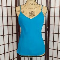 Womens TSE Silk Tank Top Bright Azure Blue Spaghetti Strap M Medium