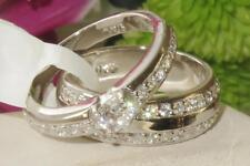 1197  2PCS ENGAGEMENT& WEDDING RING SET SIMULATED DIAMOND STERLING SILVER BAND