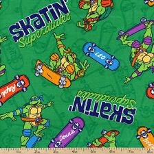 Ninja Turtles Skatin Superdudes Green 100% cotton fabric by the yard