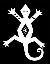 WHITE Vinyl Decal Aztec lizzard gecko Native American sticker Indian hunt fun