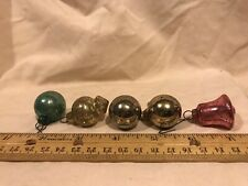 Vintage Lot Of 5 Mercury Glass Unbranded Ornaments Balls Bell