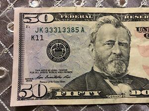 FIVE of a KIND - 2009 $50 NOTE DALLAS FRB $50.00 DOLLAR BILL JK 33313385 A