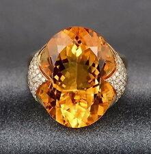 Very Nice Solid 14K Yellow Gold Natural Diamond & Yellow Ravishing Citrine Ring