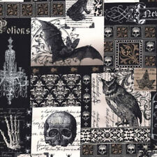 """MICHAEL MILLER """"NEVERMORE COLLAGE"""" DC5522 Black by the 1/2 yard"""