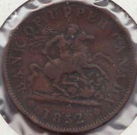 1852 -  Bank of Upper Canada - Dragon Slayer - ½ Penny - Superfleas - PC-6B5