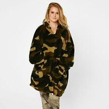 Dreamscene Camo Oversized Hoodie Blanket Giant Wearable Sherpa Sweatshirt, Khaki