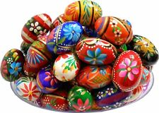 Dozen Polish Easter Hand Painted Wooden Eggs (Pisanki) Set of 12 Pysanky