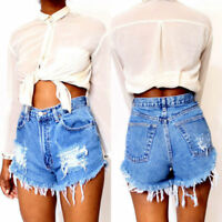 Womens Ladies Vintage High Waist Stretch Ripped Denim Jeans Shorts Hot Pants UK