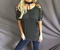 Criss Cross Caged Short Sleeve Cold Shoulder Cutout Dolman Tunic Tee Top