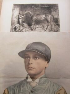 2 RARE Antique HORSE RACING Prints, WALTER BRADFORD 1893 & DERBY WINNER 1881