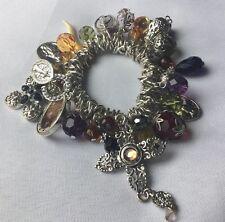 Cross Bracelet Mesh Chain Multi Sliding Bead Charms  Religious Jewelry
