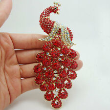 Charming Peacock Bird Pendant Red Rhinestone Crystal Gold-tone Brooch Gift