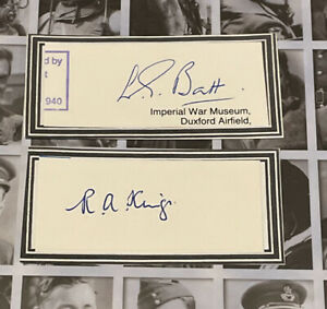 WW2 RAF Battle Of Britain Signed Bookplates X 2 King/Batt 238 Sqn