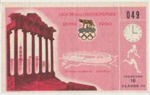 1960 Rome Olympic Games Original Ticket Stub Track & Field Class III #049