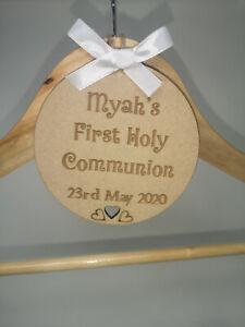 Personalised Wooden Engraved Hanger Tag fo Special Occasions: Holy Communion etc