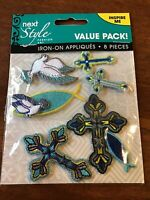 Next Style Iron-On Appliques Patches Religious Symbols Cross Dove Fish 8 Piece