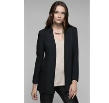 NEW Theory Tivona Crepe Koril Viscose  Black Cuffed Open Blazer Suit Jacket Sz 4