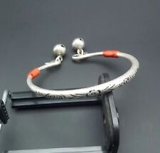 miao silver bell bracelet 1piece Retro Tribal traditioanl chinese hand-carved