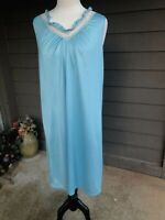 Vtg JC Penney Sleeveless Nightgown Blue Nylon Floral Lace Trim LARGE Union Tag