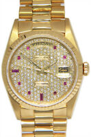 Rolex Day-Date President 18k Yellow Gold Diamond/Ruby Dial 36mm Watch 18238