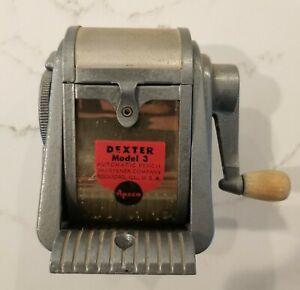 Vintage Apsco Dexter Model 3 Pencil Sharpener 6 Hole Made USA Heavy Duty