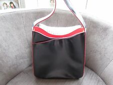 Oasis Black/red Faux Leather Bucket Style Bag with Front Compartment