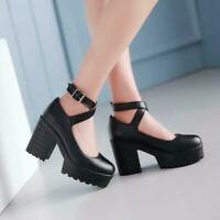 Women's Round Toe Chunky High Heel Sandals Platform Ankle Strap Mary Janes Shoes