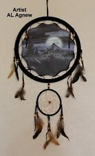 "Dream Catcher Leather Mandella Wolves Artist Al Agnew Quality 13"" picture Wall"