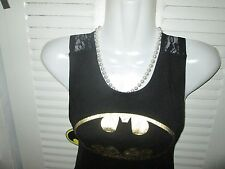 Batman BatWoman GOLD SHIMMER Juniors Lace Back BabyDoll Dress S Licensed NWT